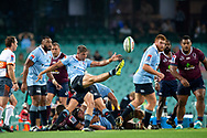 SYDNEY, NSW - MARCH 09: Waratahs player Jake Gordon (9) kicks the ball at round 4 of Super Rugby between NSW Waratahs and Queensland Reds on March 09, 2019 at The Sydney Cricket Ground, NSW. (Photo by Speed Media/Icon Sportswire)
