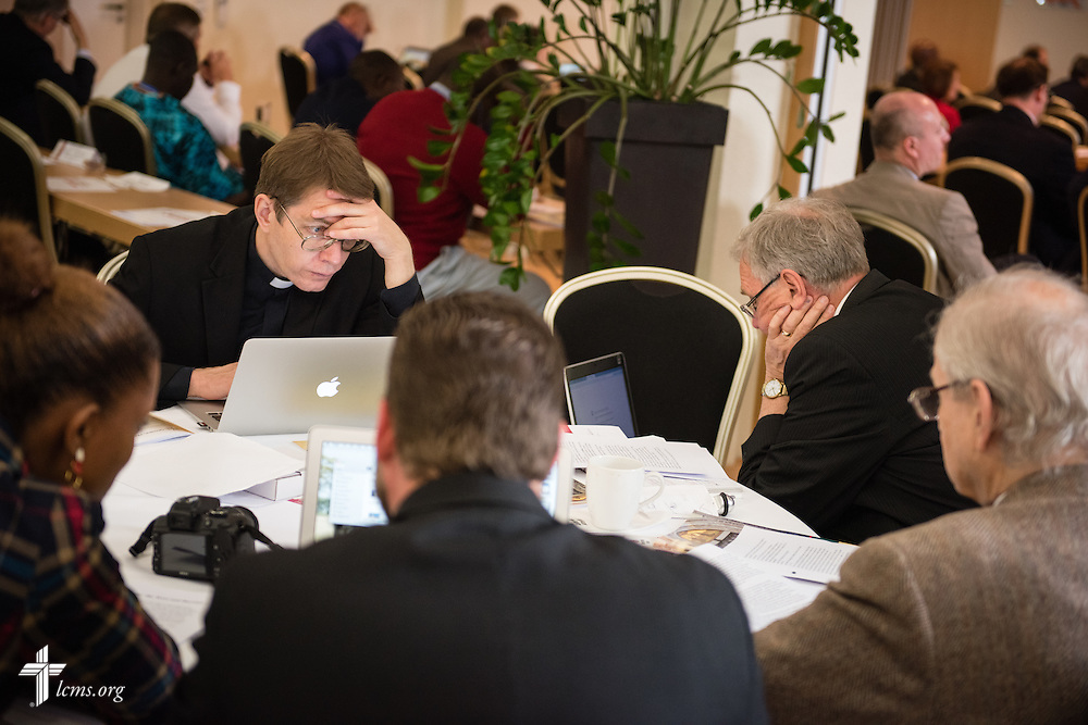 Church leaders read and listen Thursday, May 7, 2015,  at the International Conference on Confessional Leadership in the 21st Century in Wittenberg, Germany. LCMS Communications/Erik M. Lunsford