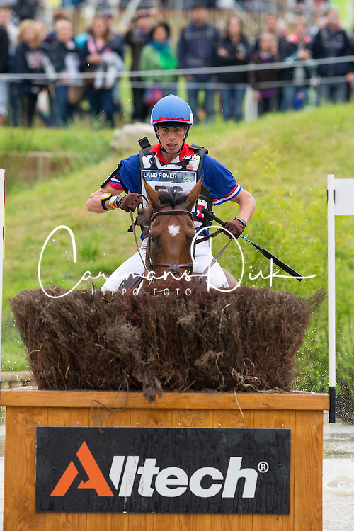 Maxime Livio, (FRA), Qalao Des Mers - Eventing Cross Country test - Alltech FEI World Equestrian Games™ 2014 - Normandy, France.<br /> © Hippo Foto Team - Leanjo de Koster<br /> 30/08/14