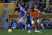 Wolverhampton Wanderers defender Dominic Iorfa breaks away from Ipswich Town midfielder Kevin Bru during the Sky Bet Championship match between Wolverhampton Wanderers and Ipswich Town at Molineux, Wolverhampton, England on 2 April 2016. Photo by Alan Franklin.