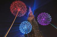 Burj Khalifa laser show - view under dandelions installation