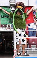 FUSSBALL WM 2018  Vorrunde Gruppe F  17.06.2018 Deutschland - Mexiko Ein mexikanischer Fan im Kunstrasen - Shirt und in umgebauten Adidas Copa Mundial Fussballschuhen auf der Tribuene im Luschniki Stadion