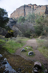 Stream crosses the Old Pinnacles Trail leading up to the Balconies Cliffs, Pinnacles National Monument, California, United States of America