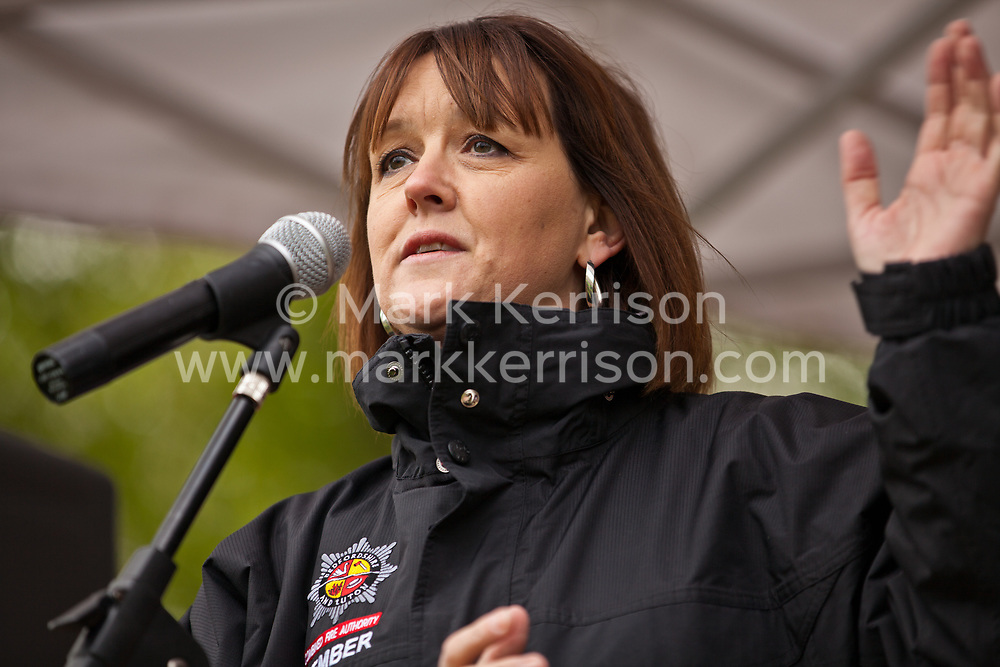 Luton, UK. 5th May, 2012. A speaker from Bedfordshire and Luton Combined Fire Authority addresses the We Are Luton/Stop The EDL rally, organised by We Are Luton and Unite Against Fascism in protest against a march by the far-right English Defence League.