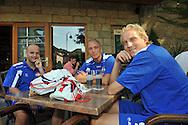 06-08-2008 Voetbal:Maikel Aerts:Bad-Schandau:Duitsland<br /> Willem II is in Oost Duitsland in Bad-Schandau voor een trainingskamp.<br /> Steef Nieuwendaal, Danny Schenkel en Frank Demouge op een terrasje<br /> <br /> foto: Geert van Erven