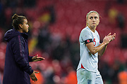 Nikita Parris (England) & Steph Houghton (Capt) (England) thanking the supporters following the International Friendly match between England Women and Germany Women at Wembley Stadium, London, England on 9 November 2019.