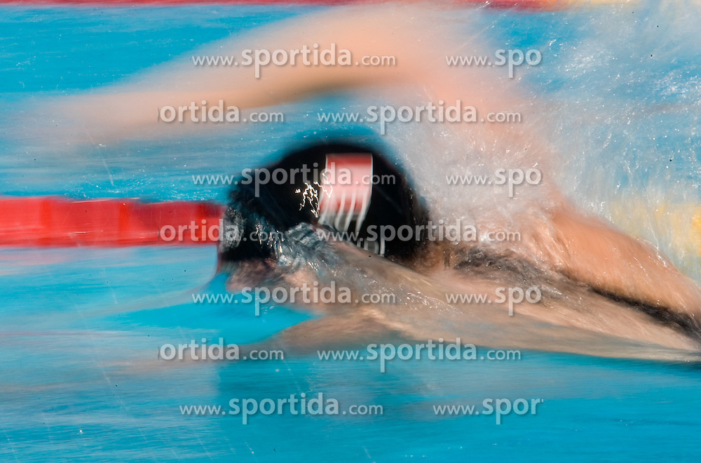 An Athlete competes in the Women's 100m Backstroke Heats during the 13th FINA World Championships Roma 2009, on July 27, 2009, at the Stadio del Nuoto,  in Foro Italico, Rome, Italy. (Photo by Vid Ponikvar / Sportida)