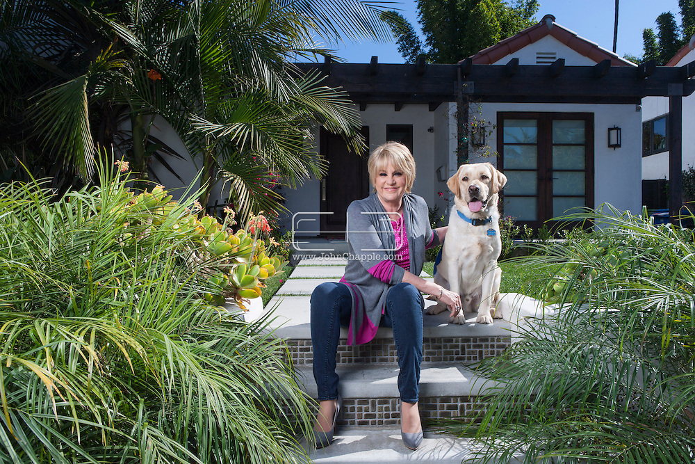 November 5, 2013. Los Angeles, California. Actress and singer Lorna Luft pictured with her dog Harlen in Los Angeles. Lorna is the daughter of singer and actress Judy Garland and Sid Luft, and the sister of singer and actress Liza Minnelli.<br />  Photo Copyright John Chapple / www.JohnChapple.com