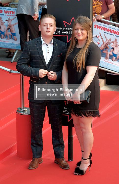 Edinburgh Film Festival, Sunday 1st July 2018<br /> <br /> SWIMMING WITH MEN (UK Premiere - Closing Night Gala)<br /> <br /> Pictured:  Thomas Turgoose and Charlotte Revell<br /> <br /> Alex Todd   Edinburgh Elite media