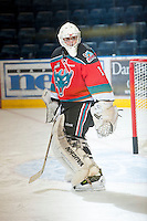 KELOWNA, CANADA - OCTOBER 10: Jackson Whistle #1 of the Kelowna Rockets warms up on the ice as the Spokane Chiefs visit the Kelowna Rockets on October 10, 2012 at Prospera Place in Kelowna, British Columbia, Canada (Photo by Marissa Baecker/Shoot the Breeze) *** Local Caption ***