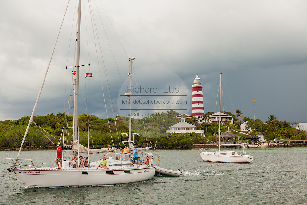 Hope Town lighthouse and harbor Elbow Cay Abacos, Bahamas.