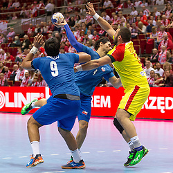 10.04.2016, Ergo Arena, Gdansk, POL, IHF Herren, Olympia Qualifikation, Chile vs Mazedonien, im Bild Javier Frelijj, Erwin Feuchtmann, Zharko Peshevski // during the IHF men's Olympic Games handball qualifier between Chile and Macedonia at the Ergo Arena in Gdansk, Poland on 2016/04/10. EXPA Pictures © 2016, PhotoCredit: EXPA/ Newspix/ Tomasz Zasinski<br /> <br /> *****ATTENTION - for AUT, SLO, CRO, SRB, BIH, MAZ, TUR, SUI, SWE only*****