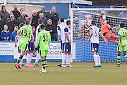 Forest Green Rovers Liam Noble(15) scores 0-1 during the Vanarama National League match between Barrow and Forest Green Rovers at Holker Street, Barrow, United Kingdom on 28 January 2017. Photo by Mark Pollitt.