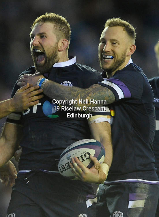 No Sales, Syndication or Archive <br /> <br /> Autumn Tests<br /> Scotland v Australia Saturday 25th November 2017, BT Murrayfield, Edinburgh.<br /> <br />  John Barclay and Byron McGuigan of Scotland celebrate Barclay's try<br /> <br /> <br /> <br />  Neil Hanna Photography<br /> www.neilhannaphotography.co.uk<br /> 07702 246823