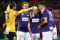08.03.2015, Generali Arena, Wien, AUT, 1. FBL, FK Austria Wien vs SK Rapid Wien, 24. Runde, im Bild Jubel von Heinz Lindner (FK Austria Wien), Lukas Rotpuller (FK Austria Wien), Markus Suttner (FK Austria Wien) und Patrizio Stronati (FK Austria Wien) nach dem Sieg // during Austrian Football Bundesliga Match, 24th Round, between FK Austria Vienna and SK Rapid Wien at the Generali Arena, Vienna, Austria on 2015/03/08. EXPA Pictures © 2015, PhotoCredit: EXPA/ Thomas Haumer