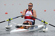 Eton Dorney, United Kingdom, Para Rowing, GBR2 AS Men' Single. Andy HOUGHTON moving away from the start pontoon in the opening Heat of the event.   Eton Rowing Centre. FISA World Cup II, Dorney Lake. Friday  21/06/2013. Berkshire.  [Mandatory Credit Peter Spurrier/ Intersport Images]