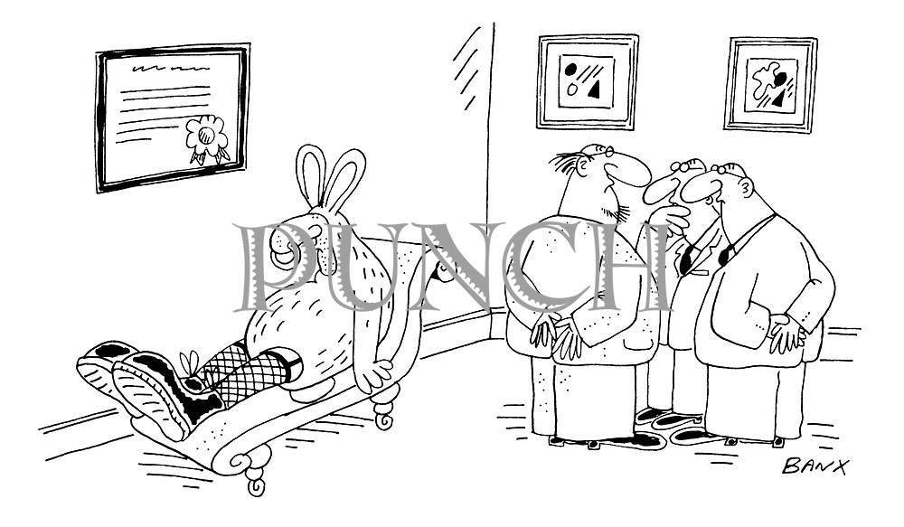 (Three psychiatrists consult over a patient who is wearing a rabbit suit, fishnet stickings and Doc Marten's boots)