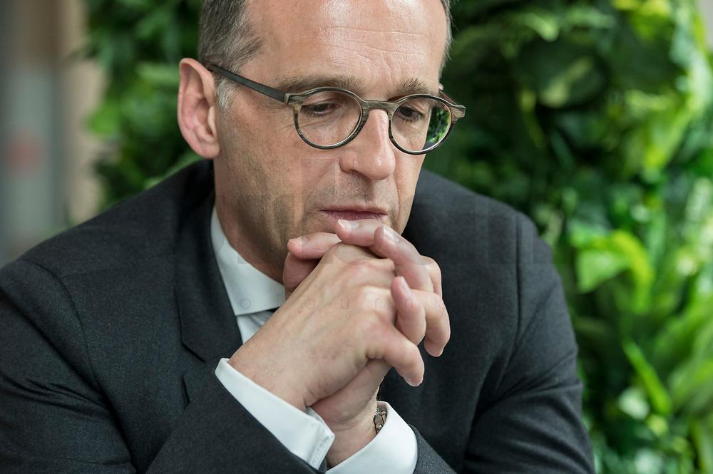 15 MAY 2019, BERLIN/GERMANY:<br /> Heiko Maas, SPD, Bundesaussenminister, waehrend einem Interview, Restaurant des Deutschen Bundestages, Reichstagsgebaeude<br /> IMAGE: 20190515-01-004