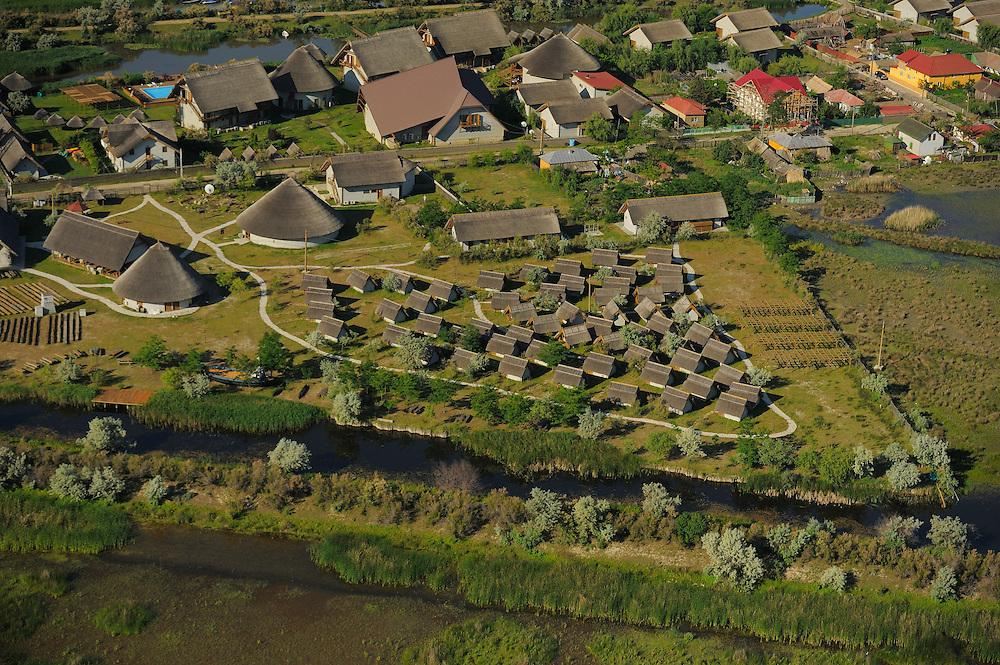 Aerials over the Danube delta rewilding area, Green Village hotel/lodge, Sfinthu Gheorghe, Romania