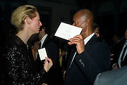 TILDA SWINTON AND MICHAEL ROBERTS, Luomo Vogue 40th Anniversary dinner. Palazzo Litta. Milan. 22 June 2008 *** Local Caption *** -DO NOT ARCHIVE-© Copyright Photograph by Dafydd Jones. 248 Clapham Rd. London SW9 0PZ. Tel 0207 820 0771. www.dafjones.com.