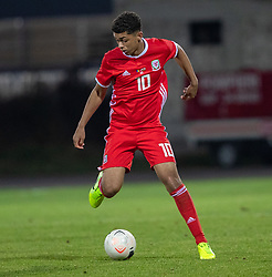 ORHEI, MOLDOVA - Friday, October 11, 2019: Wales' Brennan Johnson during the UEFA Under-21 Championship Italy 2019 Qualifying Group 9 match between Moldova and Wales at the Orhei District Sports Complex. (Pic by Kunjan Malde/Propaganda)
