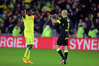 JOIE NANTES / Papi DJILOBODJI et Remy RIOU  - 13.12.2014 - Nantes / Bordeaux - 18eme journee de Ligue1<br />