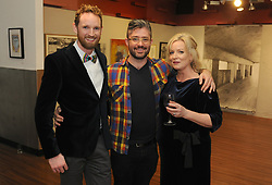 Conor Wilson Westival Director, Derrick Dark and Karen Whyte pictured at the opening of the two group shows Identity and Ipseity at the Westival Gallery. <br />Pic Conor McKeown