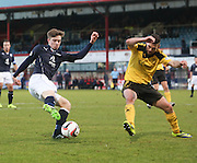 Craig Wighton tries to go past Jason Talbot - Dundee v Livingston,  SPFL Championship at Dens Park<br /> <br />  - &copy; David Young - www.davidyoungphoto.co.uk - email: davidyoungphoto@gmail.com