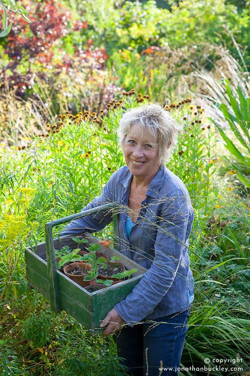 Carol Klein with box of strawberry plants