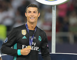 August 8, 2017 - Skopje, Macedonia - Cristiano Ronaldo of Real Madrid celebrates with his winners medal after the UEFA Super Cup final between Real Madrid and Manchester United at the Philip II Arena on August 8, 2017 in Skopje, Macedonia. (Credit Image: © Ahmad Mora/NurPhoto via ZUMA Press)