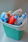 Bin full of plastic waste.