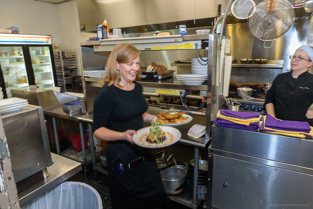 Lunchtime in the kitchen at Lilly's Tuesday, Aug. 16, 2016 with Chef/Owner Kathy Cary and staff. (Photo by Brian Bohannon)
