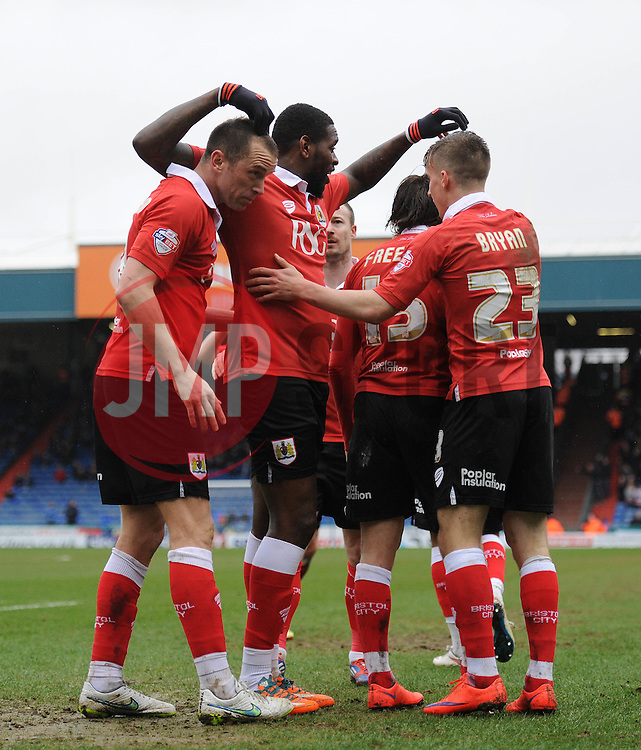 Bristol City's Aaron Wilbraham celebrates with his team mates after scoring. - Photo mandatory by-line: Dougie Allward/JMP - Mobile: 07966 386802 - 03/04/2015 - SPORT - Football - Oldham - Boundary Park - Bristol City v Oldham Athletic - Sky Bet League One