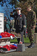 Remembrance Service at the War Memorial in Seaford, East Sussex organised by the members of the Seaford Royal British Legion. Sunday 10 November 2013