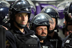 Policemen during the UEFA Europa League play-offs second leg match between NK Maribor and US Citta di Palermo at Ljudski vrt Stadium on August 26, 2010 in Maribor, Slovenia. Maribor defeated Palermo 3-2 but Palermo won in total 5-3 and qualified for Europa league. (Photo by Marjan Kelner / Sportida)