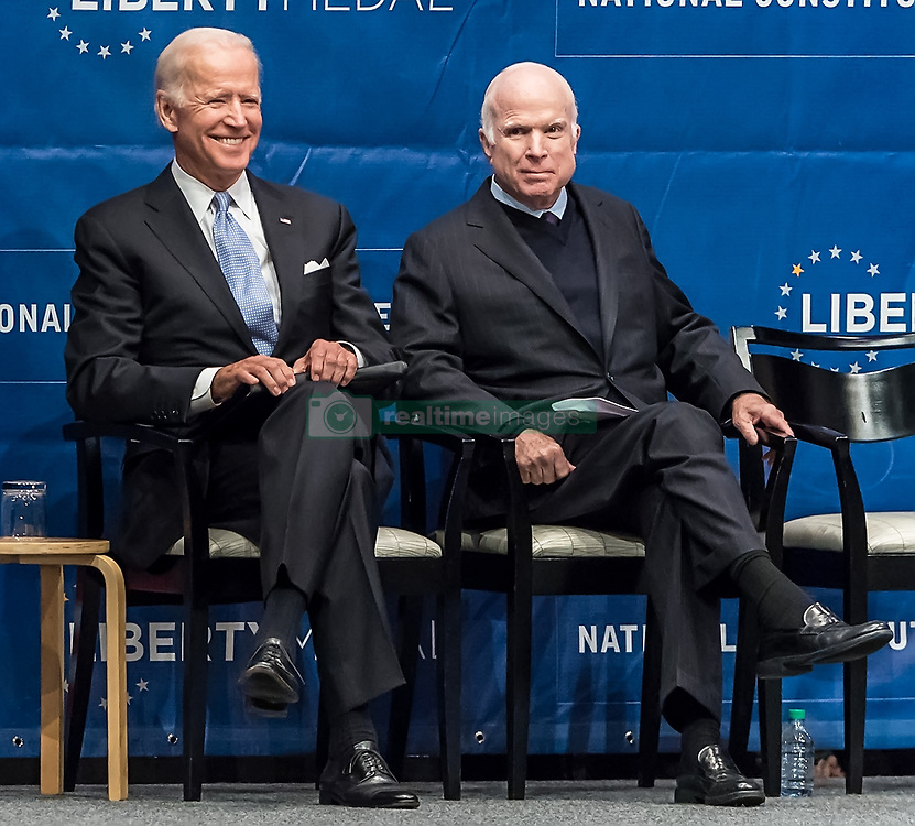 U.S. Senator John McCain awarded with Liberty Medal for his lifetime of service and sacrifice at 2017 Liberty Medal Ceremony at National Constitution Center in Philadelphia, PA. Vice President Joe Biden awarded the Liberty Medal to his longtime friend, Senator McCain. The Liberty Medal is awarded annually by the National Constitution Center to men and women of courage and conviction who have strived to secure the blessings of liberty to people the world over. In the past two decades, the Medal's roster of recipients includes Nelson Mandela, Sandra Day O'Connor, Kofi Annan, Shimon Peres, and Colin Powell, 14th Dalai Lama, Malala Yousafzai, Hillary Clinton, Muhammad Ali,Steven Spielberg, Bono, Bill Clinton, George H. W. Bush. 16 Oct 2017 Pictured: Joe Biden, John McCain. Photo credit: MEGA TheMegaAgency.com +1 888 505 6342