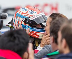 17.10.2015, Hockenheimring, Hockenheim, GER, DTM, Hockenheim, im Bild Timo Scheider (Audi RS5 DTM) kuesst seine Lebensgefaehrtin nach dem Sieg // during the DTM Championship Race at the Hockenheimring in Hockenheim, Germany on 2015/10/17. EXPA Pictures © 2015, PhotoCredit: EXPA/ Eibner-Pressefoto/ Neis<br /> <br /> *****ATTENTION - OUT of GER*****