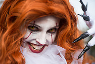 Lucca Comics and Games. Characters along city walls area. It Pennywise