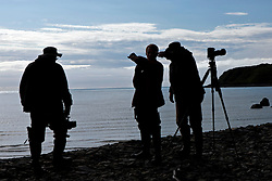 Three male photographers silhouetted along a beach, Lake Clark National Park, Alaska, United States of America