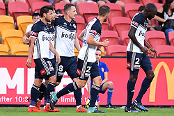 December 17, 2017 - Brisbane, QUEENSLAND, AUSTRALIA - Melbourne Victory players celebrate a goal from Kosta Barbarouses during the round eleven Hyundai A-League match between the Brisbane Roar and the Melbourne Victory at Suncorp Stadium on Sunday, December 17, 2017 in Brisbane, Australia. (Credit Image: © Albert Perez via ZUMA Wire)
