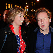 NLD/Amsterdam/20120313 - Inloop Boekenbal 2012, Erik van Muiswinkel en partner Pauline Schoof