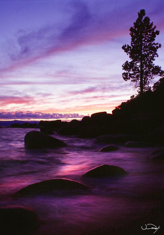Lake Tahoe Scenic Sunset Waves over Rocks