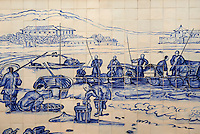 Chine, Macao, Azulejos de la Traversa do Meio, Praia Grande avec pecheurs de Georges Chinnery, 1837 // China, Macau, Tiles on the Traversa do Meio, Praia Grande with fishermen from Georges Chinnery, 1837