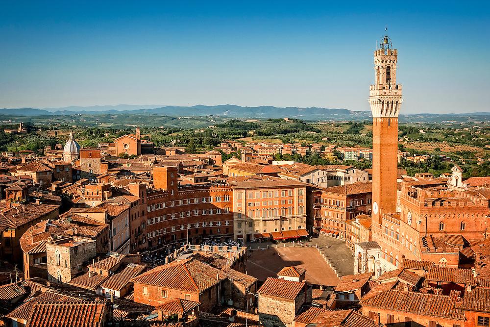 City view over Plaza del Campo in Sienna