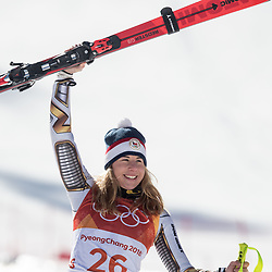 February 17, 2018 - Pyeongchang, South Korea - Gold medal winner ESTER LEDECKA of Czech Republic, during the venue podium ceremony for Alpine Skiing: Ladies' Super-G at Jeongseon Alpine Centre during the 2018 Pyeongchang Winter Olympic Games. (Credit Image: © Daniel A. Anderson via ZUMA Wire)