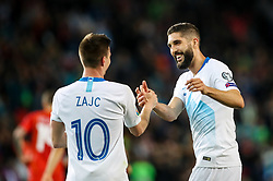 Miha Zajc of Slovenia and Miha Mevlja of Slovenia celebrates after scoring a goal during football match between National teams of Slovenia and North Macedonia in Group G of UEFA Euro 2020 qualifications, on March 24, 2019 in SRC Stozice, Ljubljana, Slovenia. Photo by Matic Klansek Velej / Sportida