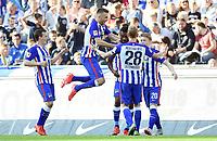 Fotball<br /> Tyskland<br /> 03.10.2015<br /> Foto: Witters/Digitalsport<br /> NORWAY ONLY<br /> <br /> 1:0 Jubel v.l. Valdimir Darida, Vedad Ibisevic, Torschuetze Salomon Kalou, Mitchell Weiser (Berlin)<br /> Fussball Bundesliga, Hertha BSC Berlin - Hamburger SV