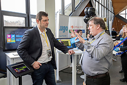 #hellodigital Extra 2017 event, held at Eden Court in Inverness.<br /> <br /> Pictured: Exhibitors chatting<br /> <br /> Malcolm McCurrach | EEm | Mon, 20, February, 2017