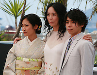 Jun Yoshinaga, Naomi Kawase and Nijiro Murakami at the photo call for the film Still The Water (Futatsume No Mado), at the 67th Cannes Film Festival, Tuesday 20th May 2014, Cannes, France.