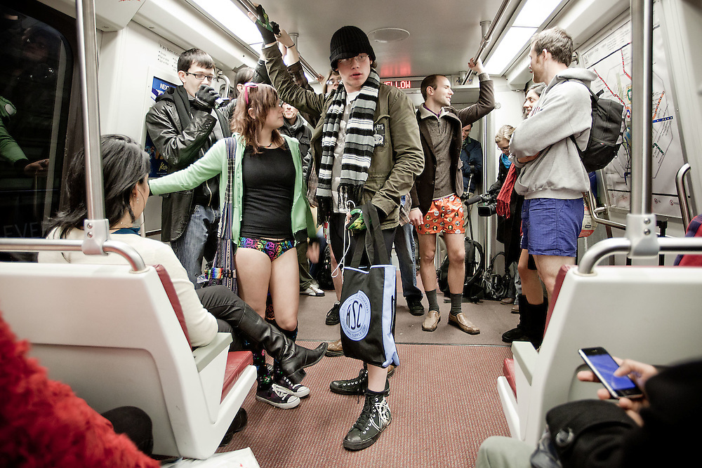 "Locals participate in the 4th annual ""No Pants"" Metro ride on Sunday, Jan. 9, 2011 in Washington."
